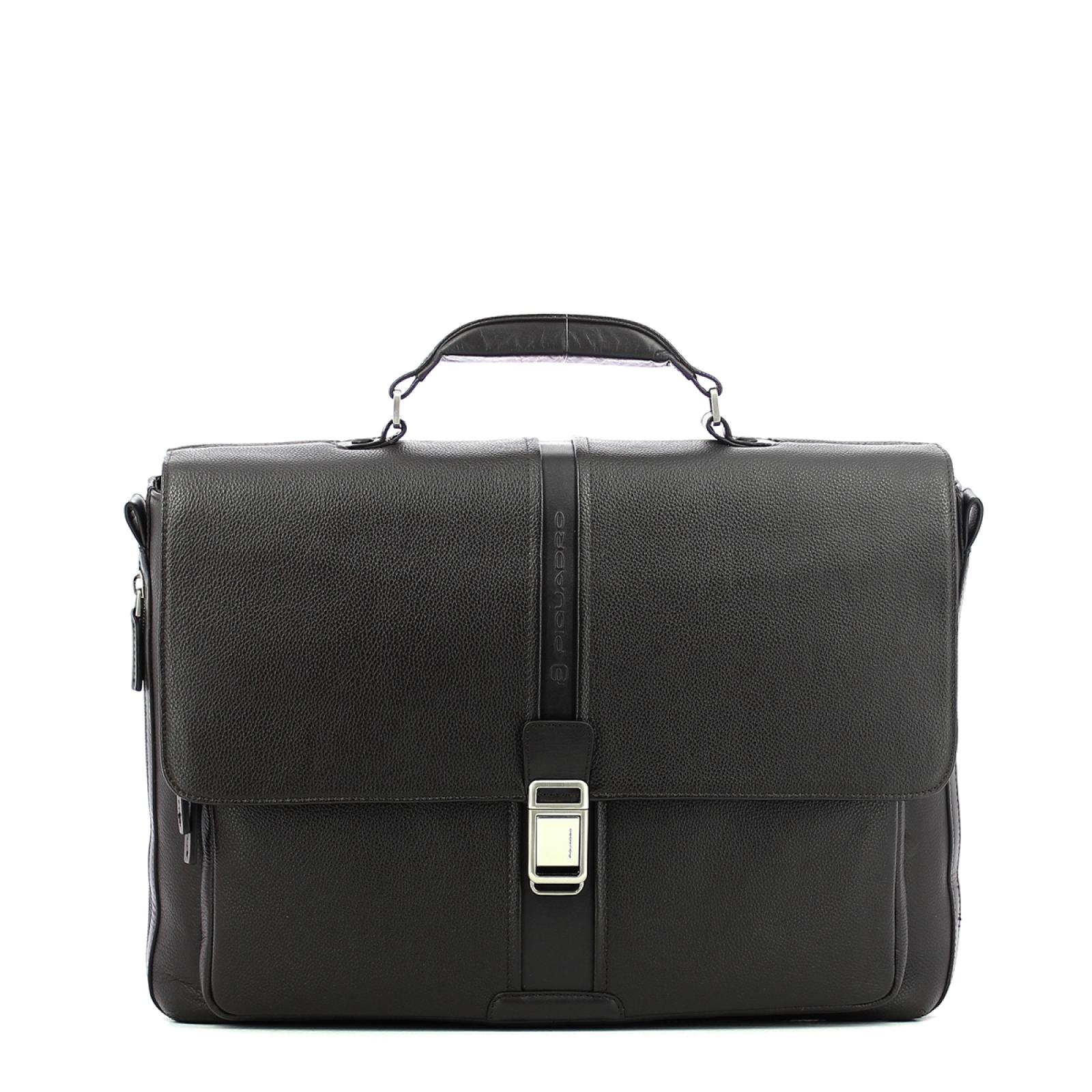 Expandable leather Laptopbag 14.0-MARRONE-UN