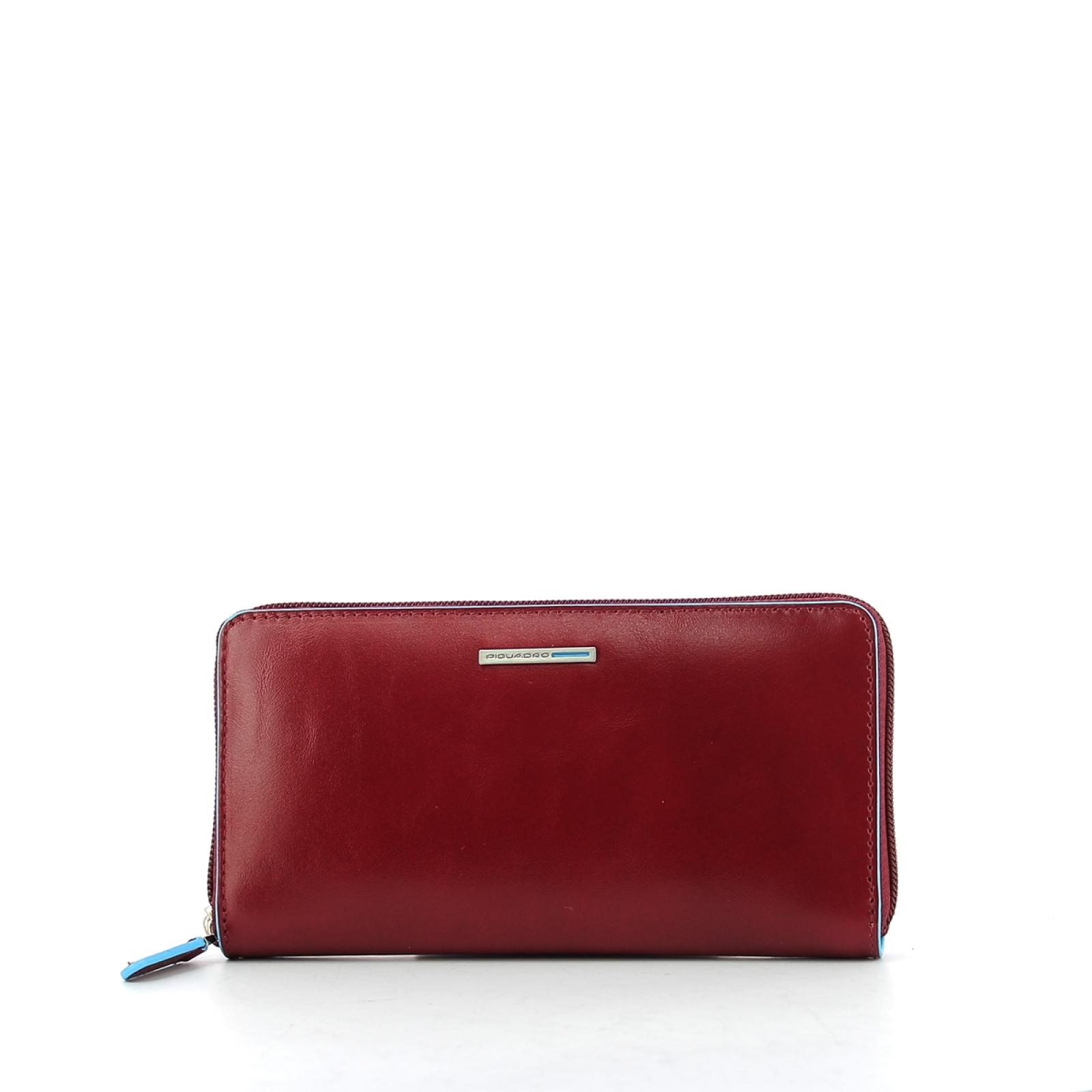Three gussets woman wallet Blue Square-ROSSO-UN