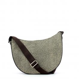 Borbonese Luna Bag Middle Jet Hobo a tracolla - 1