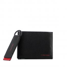 Giftbox pebbled leather Wallet + Keyring-BLACK-UN