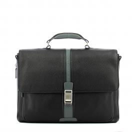 Expandable leather Laptopbag 14.0-NERO/GRIGIO-UN