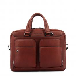 Slim Leather Briefcase Black Square 15.0-ROSSO-UN