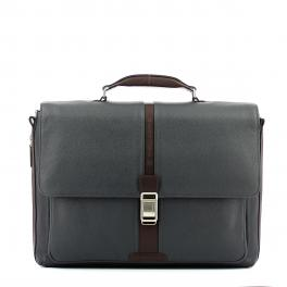 Expandable leather Laptopbag 14.0-BLU/MARRONE-UN